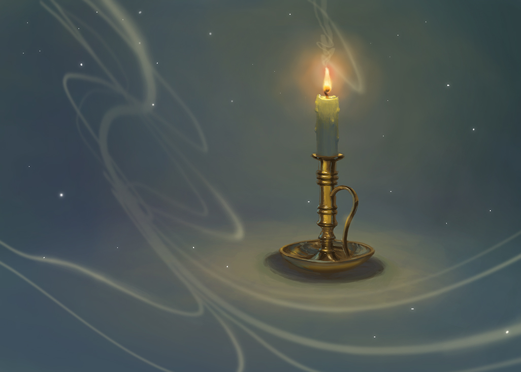 digital painting of candle