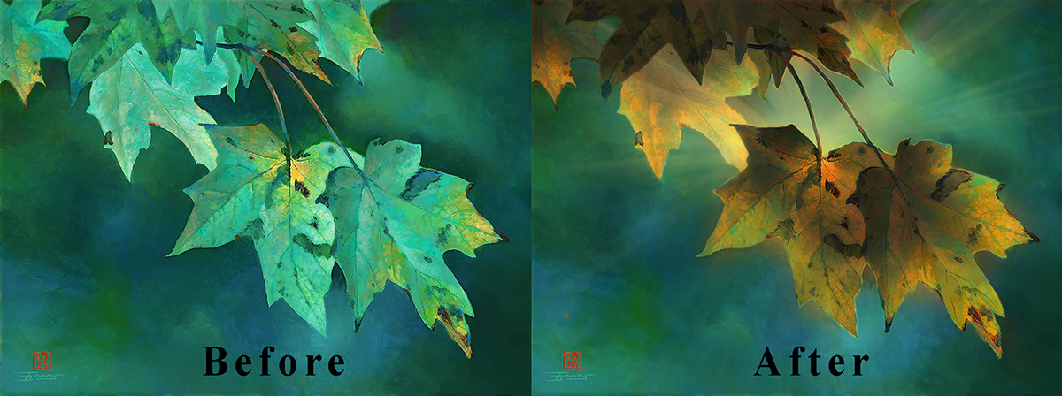 """Before, After art of """"Encroaching Fall"""" painting"""