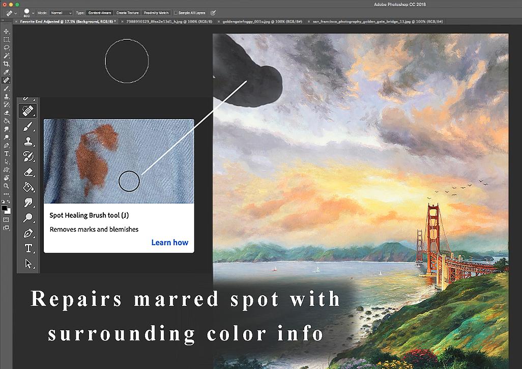 Painting image showing Photoshop healing brush tool.