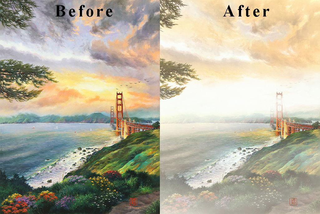 """Before, After painting """"Favorite End""""."""