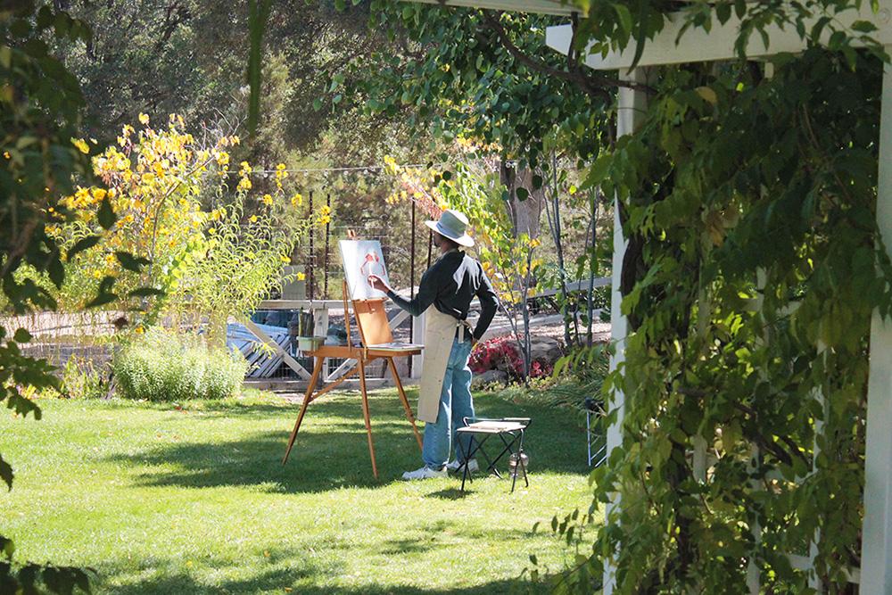 Artist painting plein air