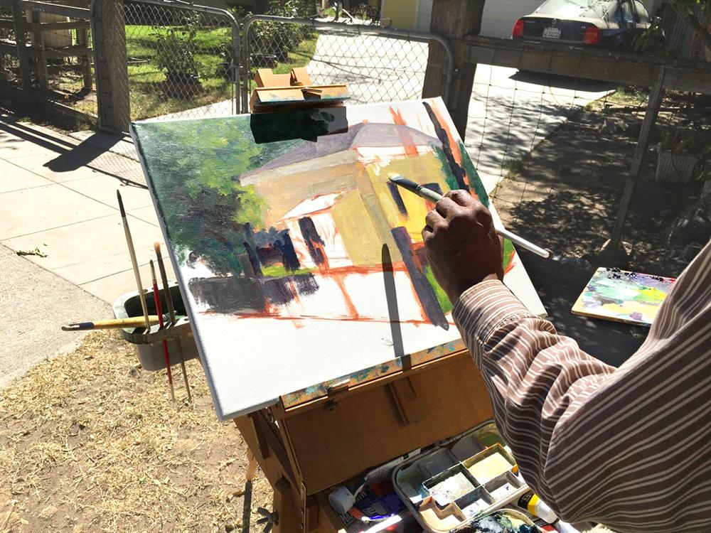 Starting Gallinger House painting, en plein air.