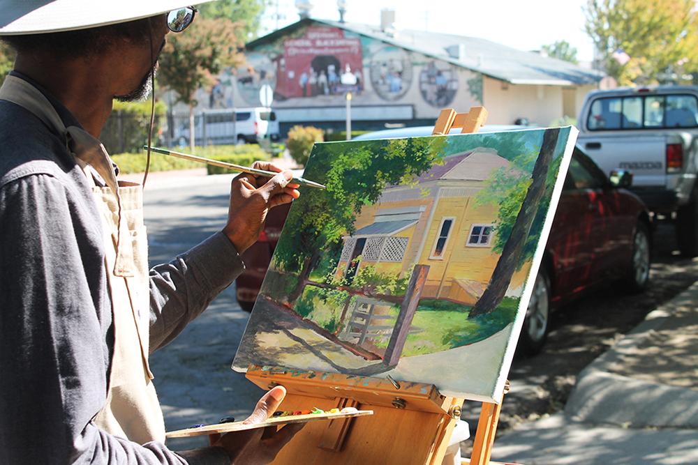 Plein air painting progress of Gallinger House; Tehachapi, Ca.