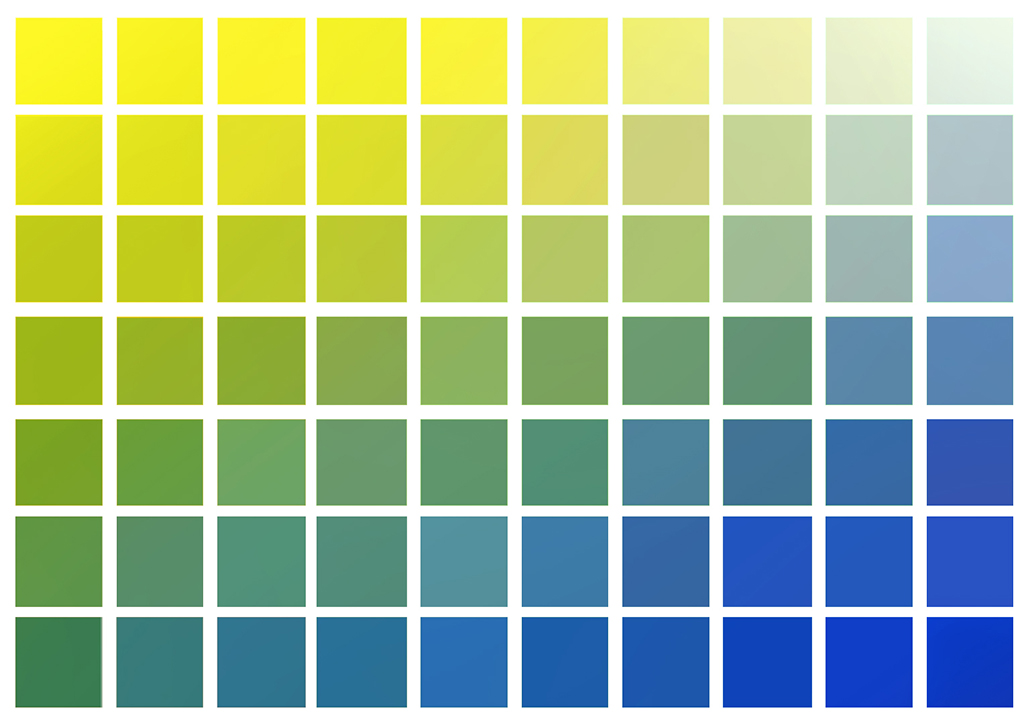 Yellow to blue color chart.