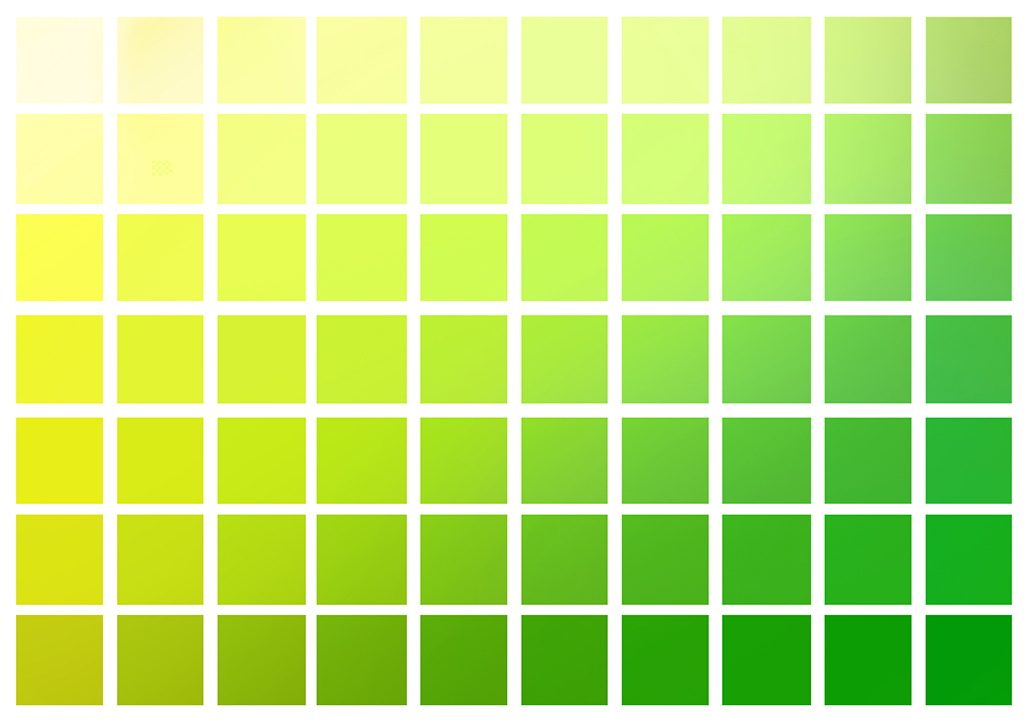 Yellow to Green color chart.