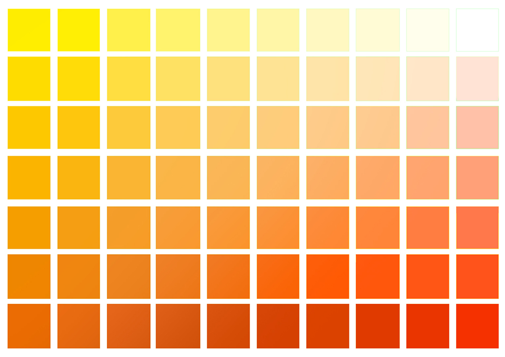 Yellow to red color chart.