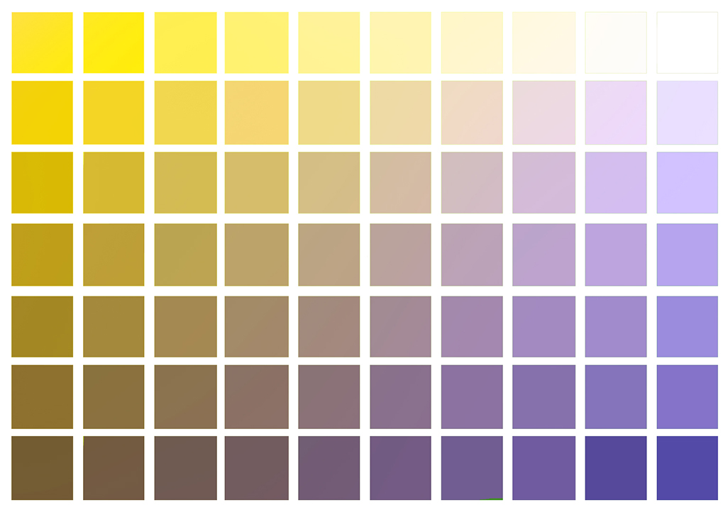 Yellow to violet color chart
