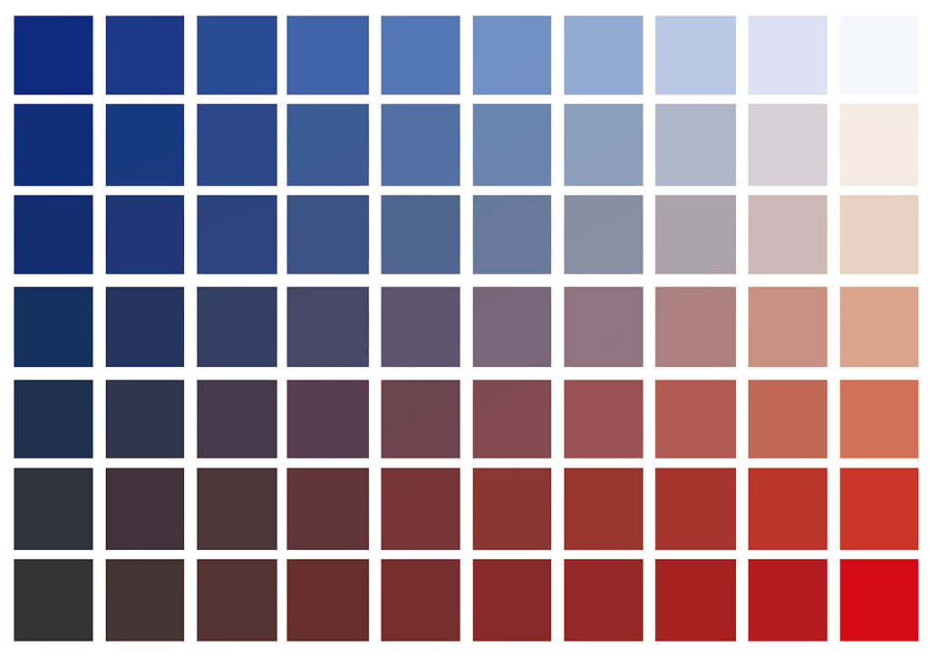 Red to Blue basic colors chart