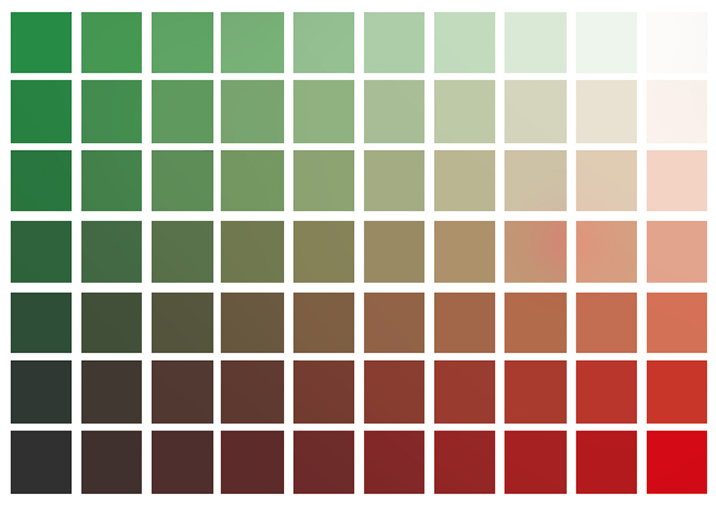Red to Green basic colors chart
