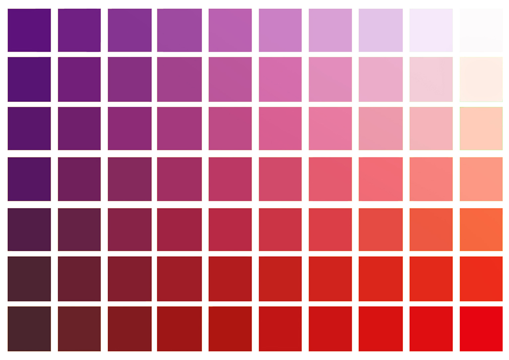 Red to Violet basic colors chart.