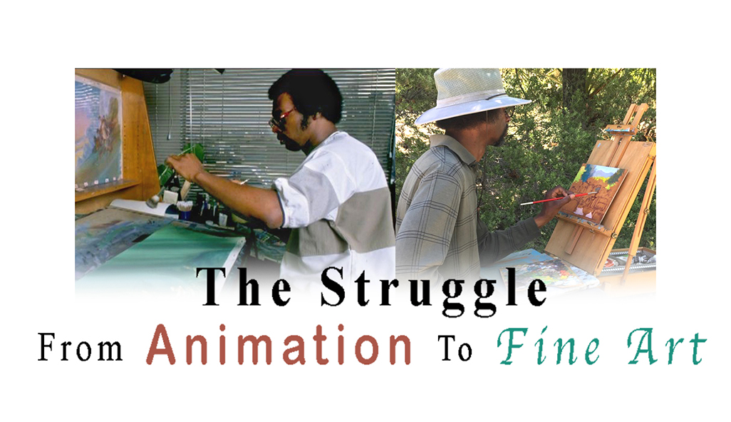 Photo of artist painting in animation and plein air. Title art.