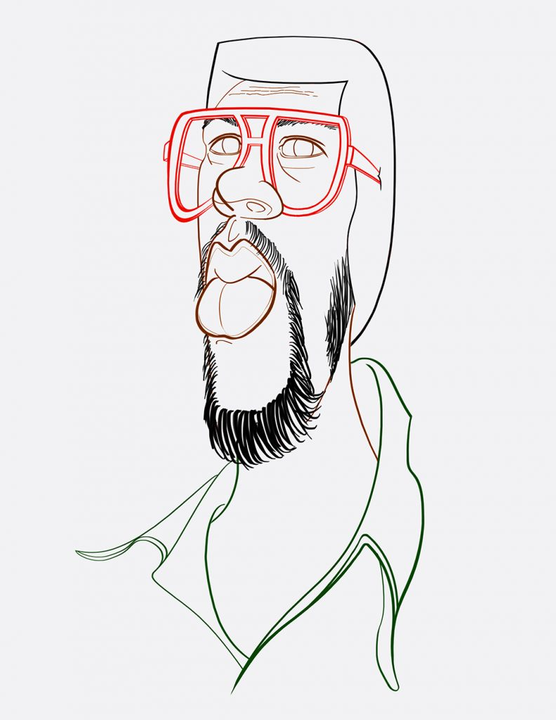 photoshop caricature colored line drawing