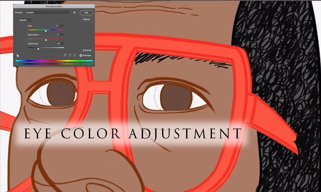 Caricature eye color adjustment tip.