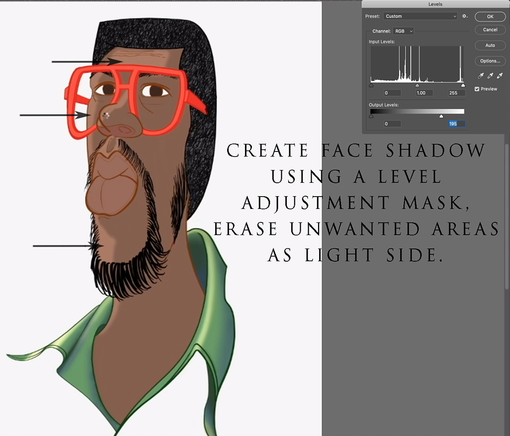 Caricature shadow added tip.