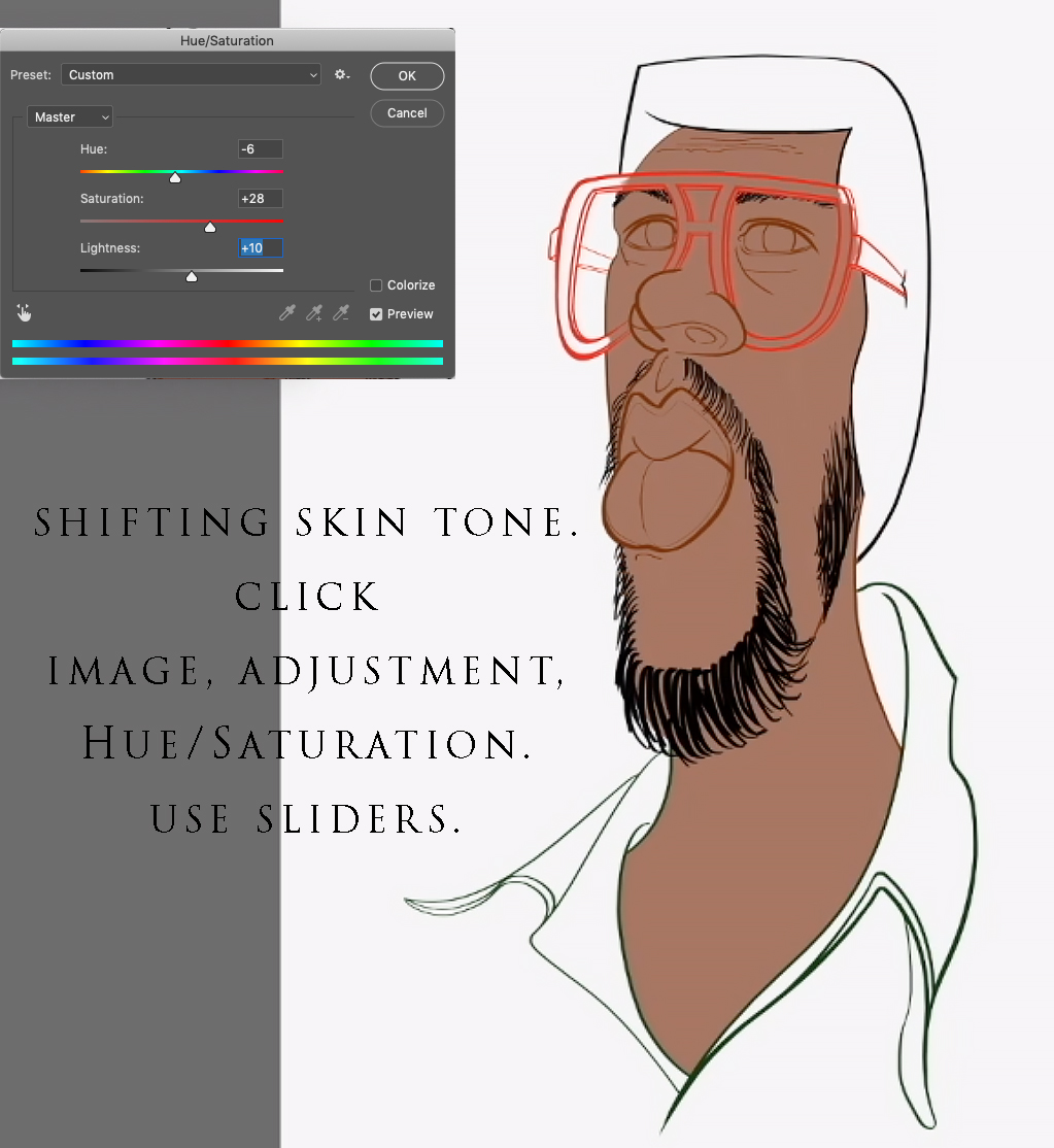 Caricature color shift tip.