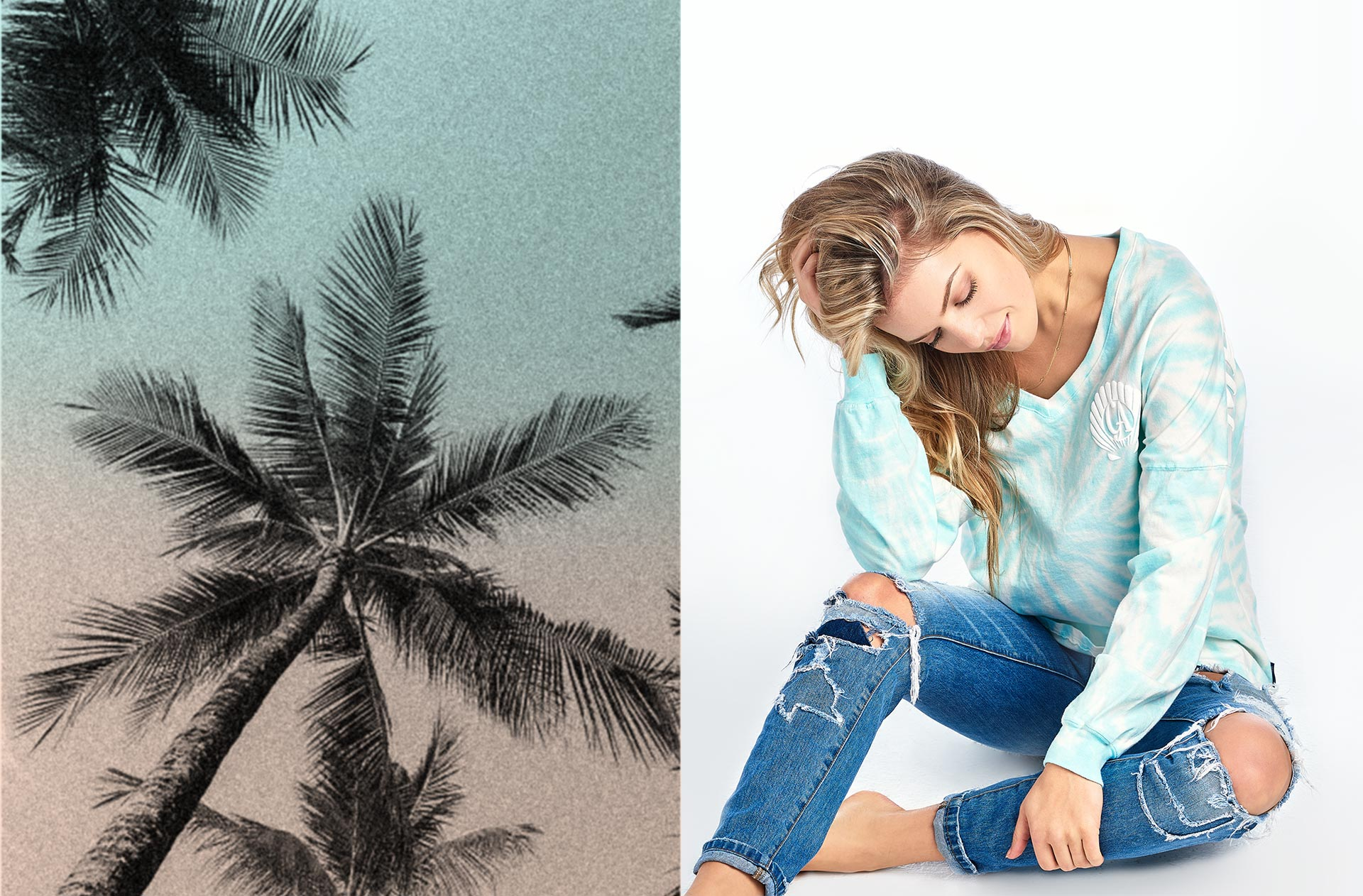 Spirit Palms photo from our 2018 lookbook featuring our long sleeve v-neck spiral tie dye Spirit Jersey®