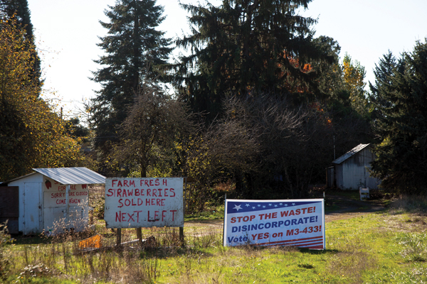 Damascus: The residents of Oregon's youngest city voted recently to remain incorporated. Strip malls and farm stands sit blocks apart in this place that struggles with zoning, development, and growth.