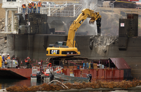 The very first day of dam de-construction, September 15, 2011