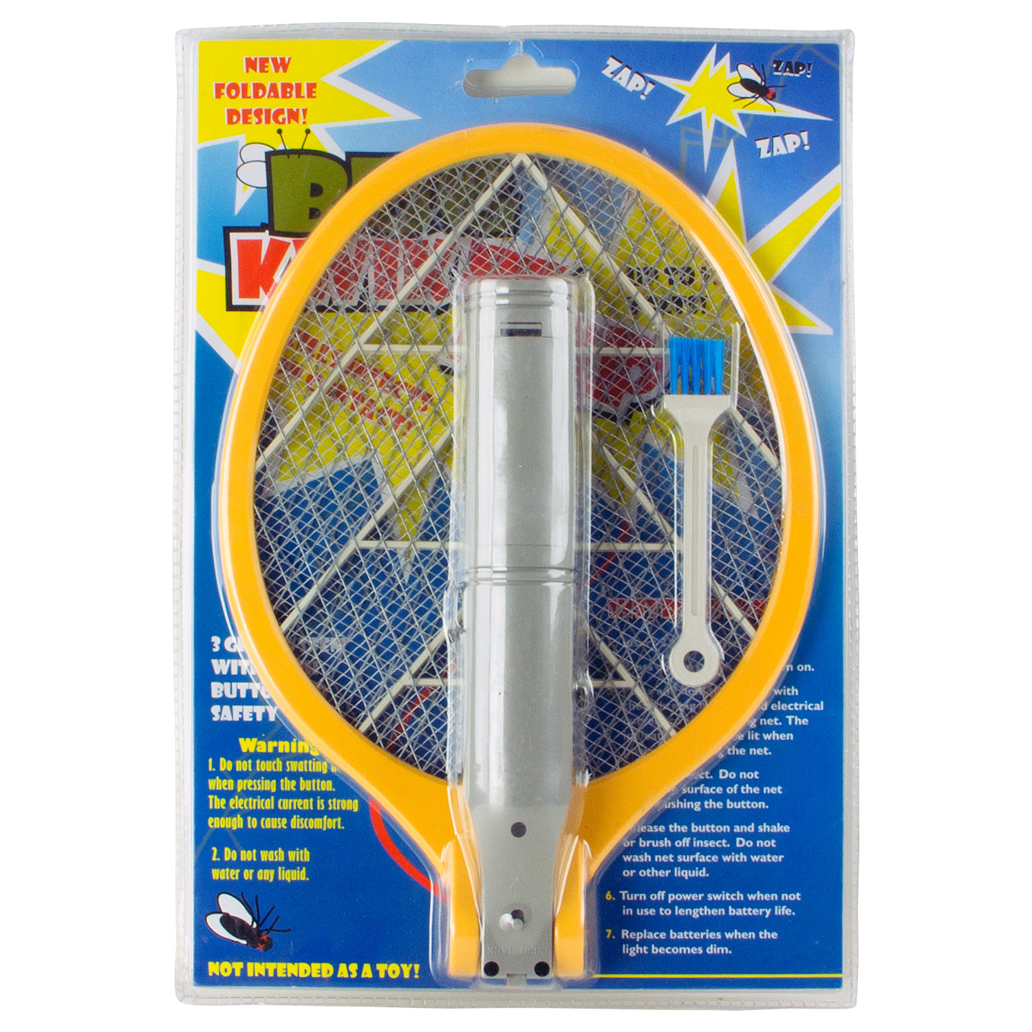 BugKwikZap - Foldable Bug Zapper Electric Fly Swatter (2AA Batteries, 2700V)