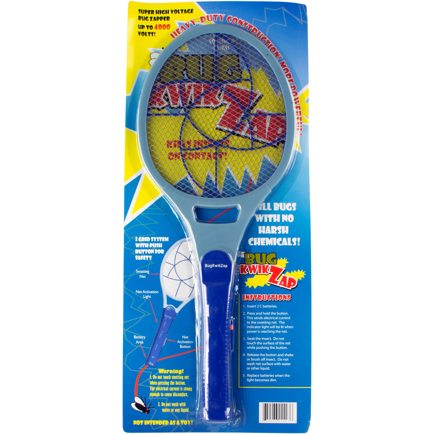 BugKwikZap - Pinwheel Most Powerful Bug Zapper for Large Bugs (2C Batteries, 4000V)