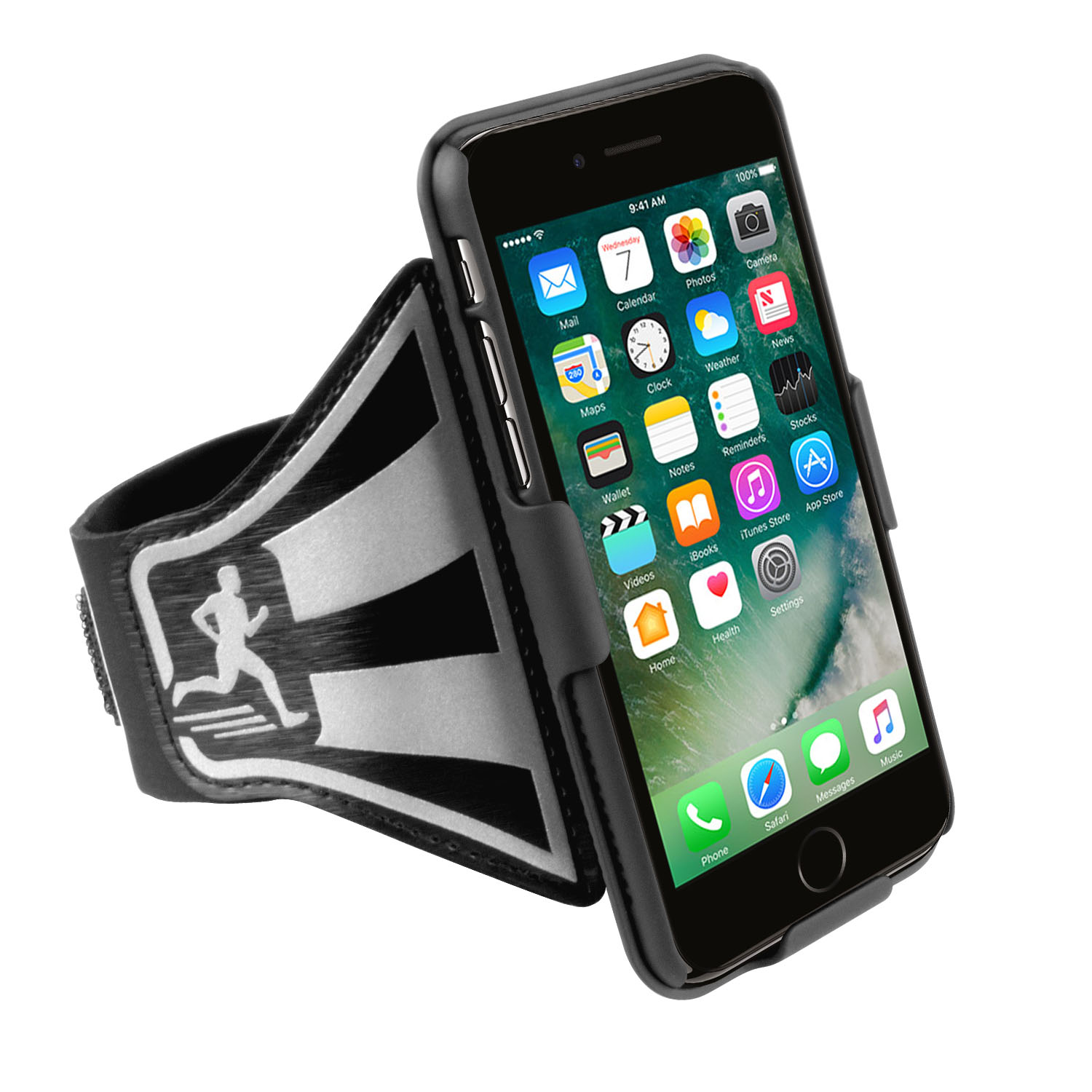 Running Armband for iPhone 7 Open Face Arm Band Ideal for Fitness Apps. Workout Band with Rotative Phone Holster. Sport Case for Running Jogging Exercise Fitness. Case Combo