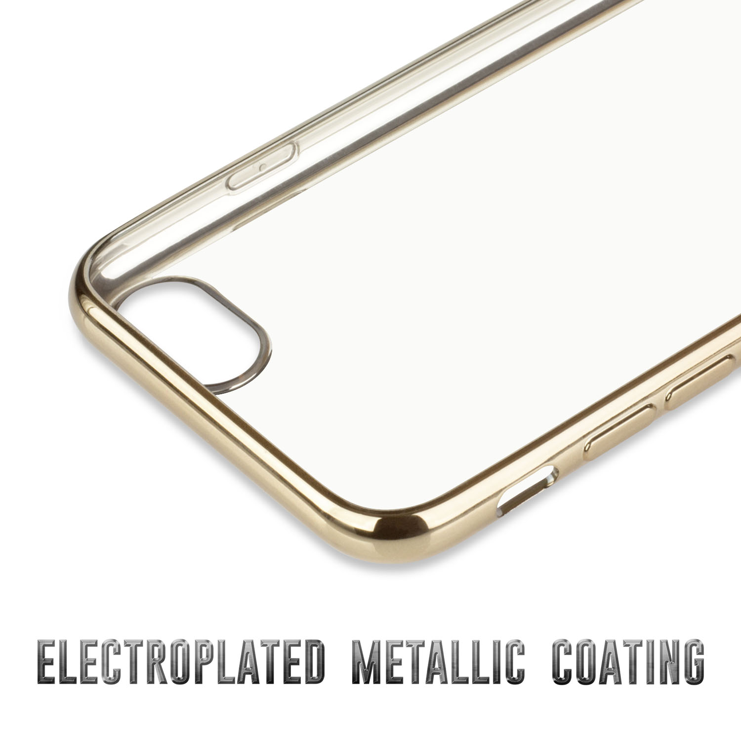 iPhone 7 Case, GolemGuard [Metallic Electroplating TPU] Ultra Slim Lightweight Crystal Clear Back Cover Soft TPU Case for iPhone 7 - Metal Silver