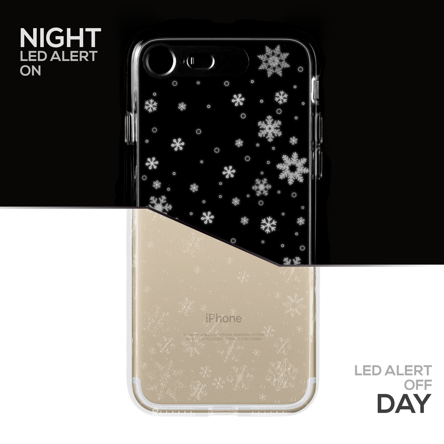 SOJITEK iPhone 7 Gold Twinkling Light Clear Case w/ Snow Pattern (Patent Pending Twinkling Light Technolgy using LED Flash Alerts)