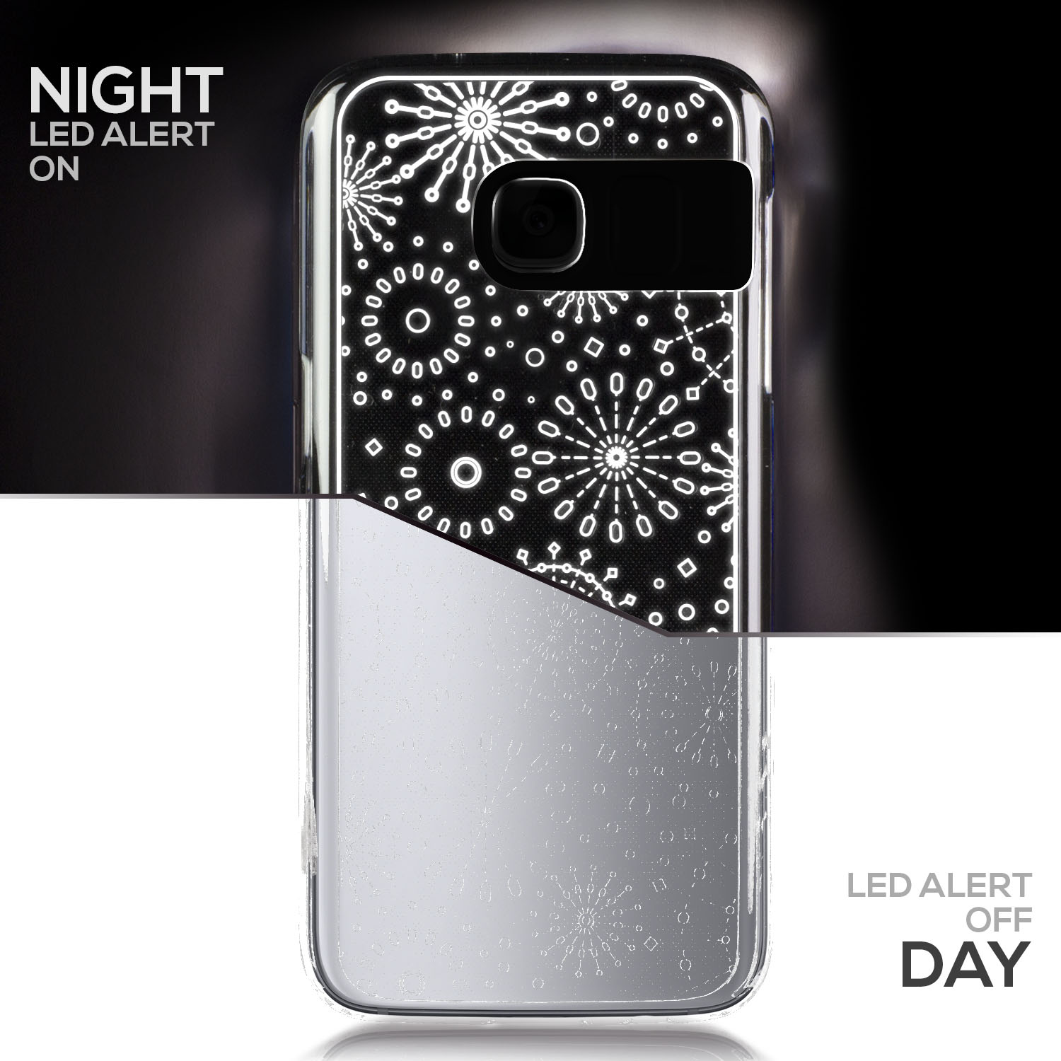 TortugaArmor iPhone 7 Gold Twinkling Light Clear Case w/ Snow Pattern (Patent Pending Twinkling Light Technolgy using LED Flash Alerts)