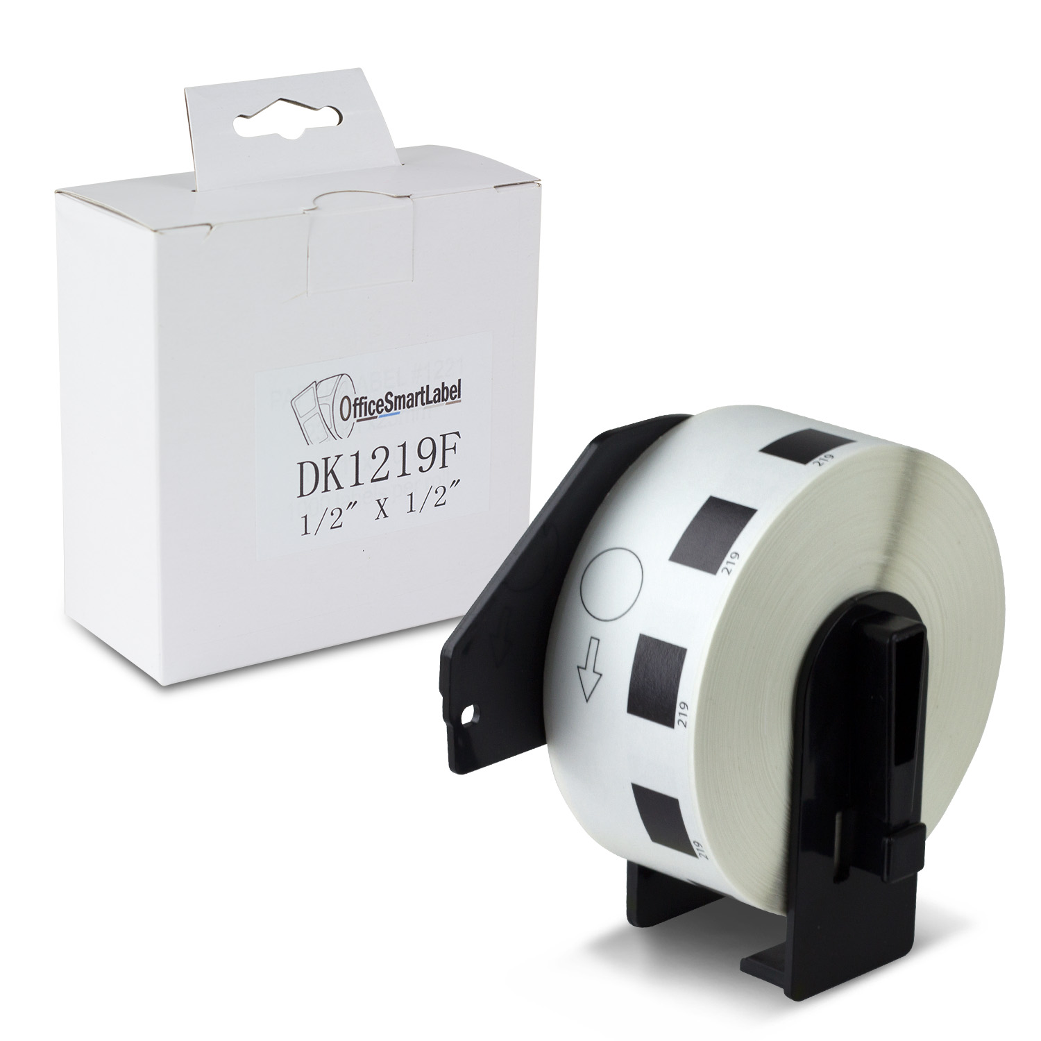 "Brother Compatible DK-1219 Die-cut White Paper Round Labels 1/2"" Diameter Labels With Permanent Cartridge 