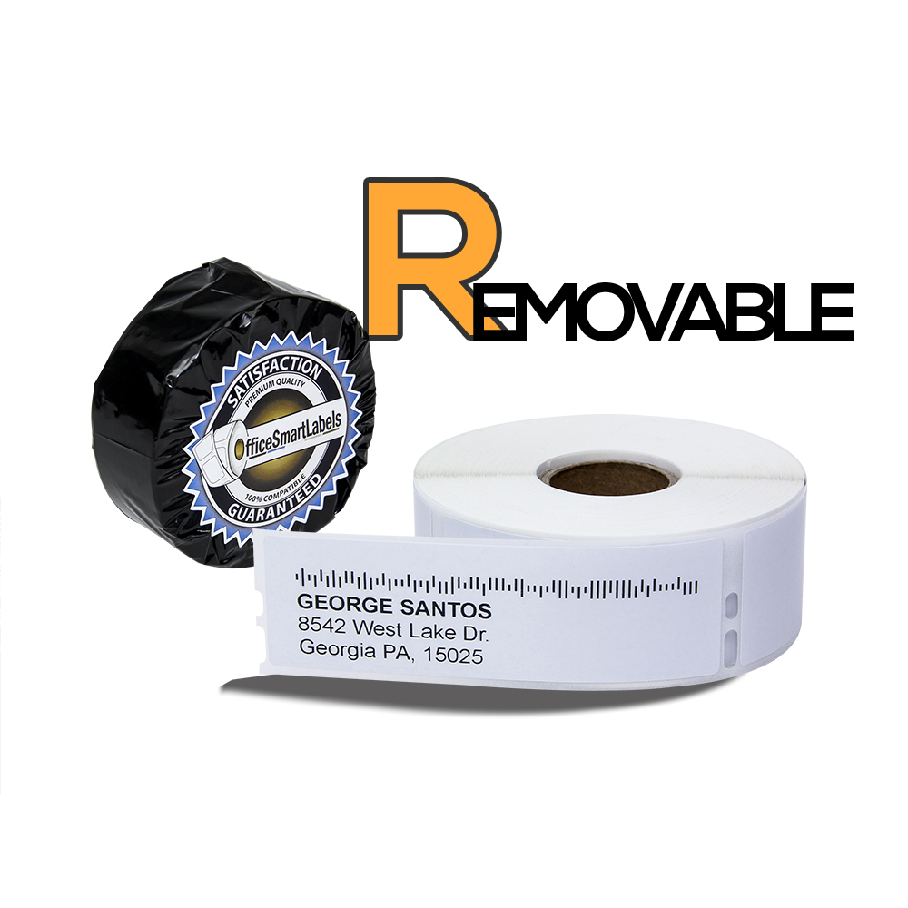 "Dymo Compatible 30252 Removable Adhesive - 1-1/8"" x 3-1/2"" Address Labels (1 Roll - 350 Labels Per Roll)"