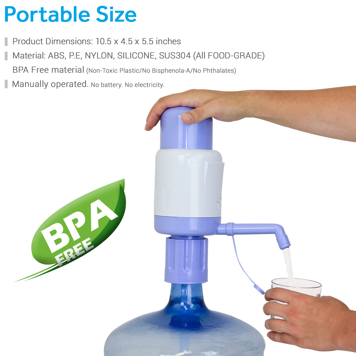 TERAPUMP - TRPMW200 Manual Drinking Water Pump, Fits Any Bottle (Except Glass Bottles) BPA-FREE