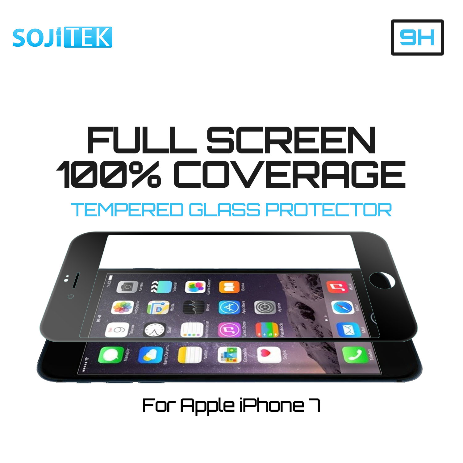 SkylerShield iPhone 7 100% 3D Full Screen Coverage Black Color Premium Ballistic Tempered Glass Screen Protector with Lifetime Replacement Warranty - (HD) Ultra Clear 99.99% Clarity