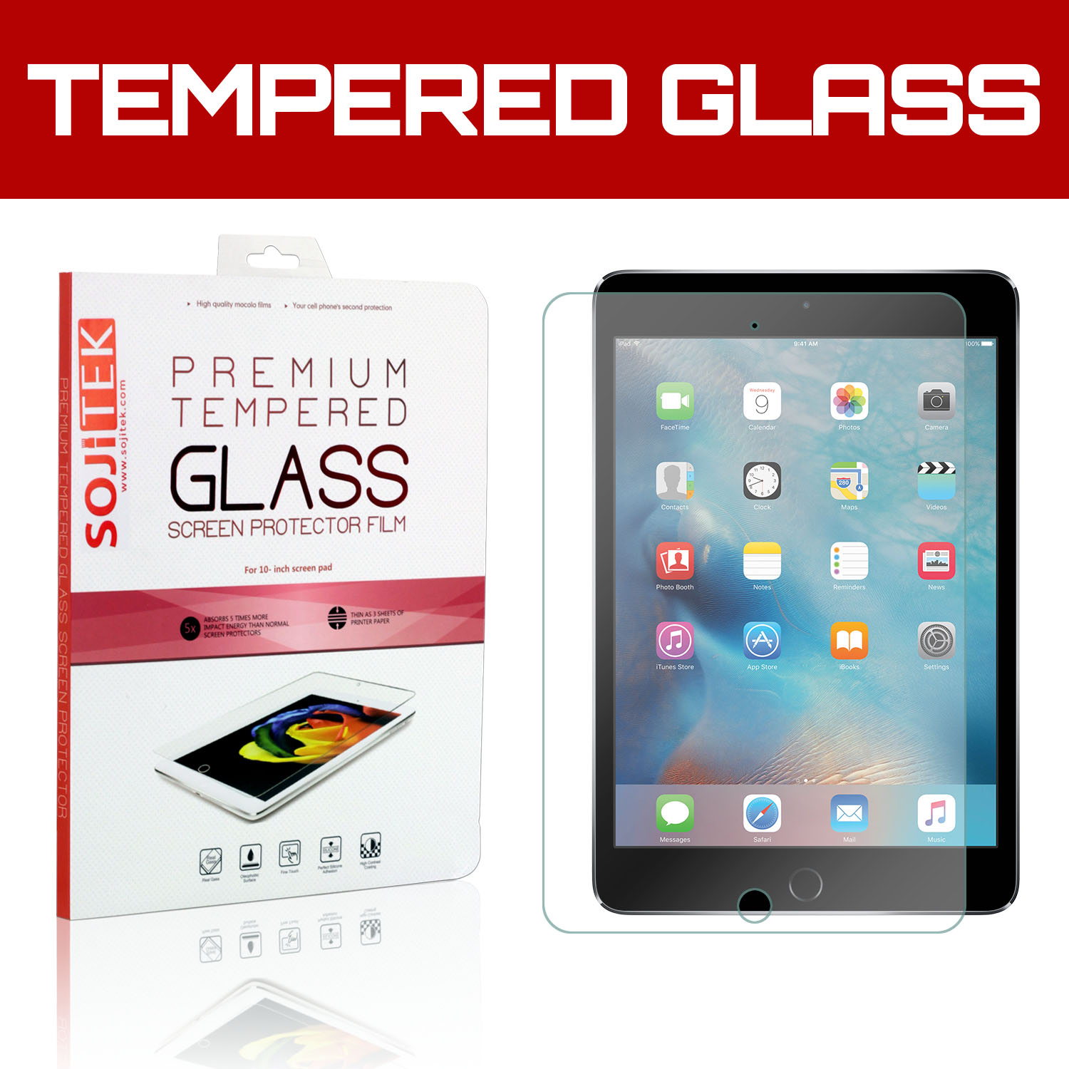 TortugaArmor iPad Mini 4 Premium Ballistic Tempered Glass Screen Protector with Lifetime Replacement Warranty - HD Ultra Clear Clarity & Touchscreen Accuracy Smart Film 0.33mm thinness