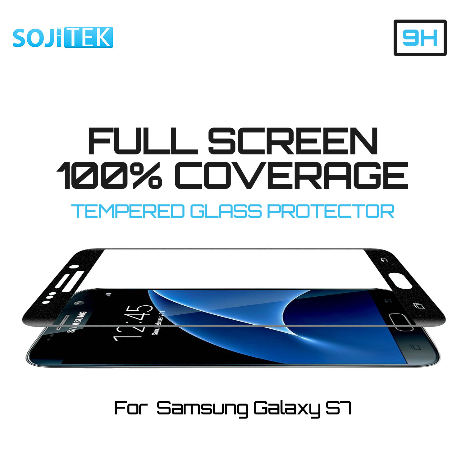 SOJITEK Samsung Galaxy S7 100% Full Screen Coverage (NOT 3D) Including Curved Edge Black Premium Ballistic Tempered Glass Screen Protector w/ Lifetime Replacement Warranty - (HD) Ultra Clear Clarity