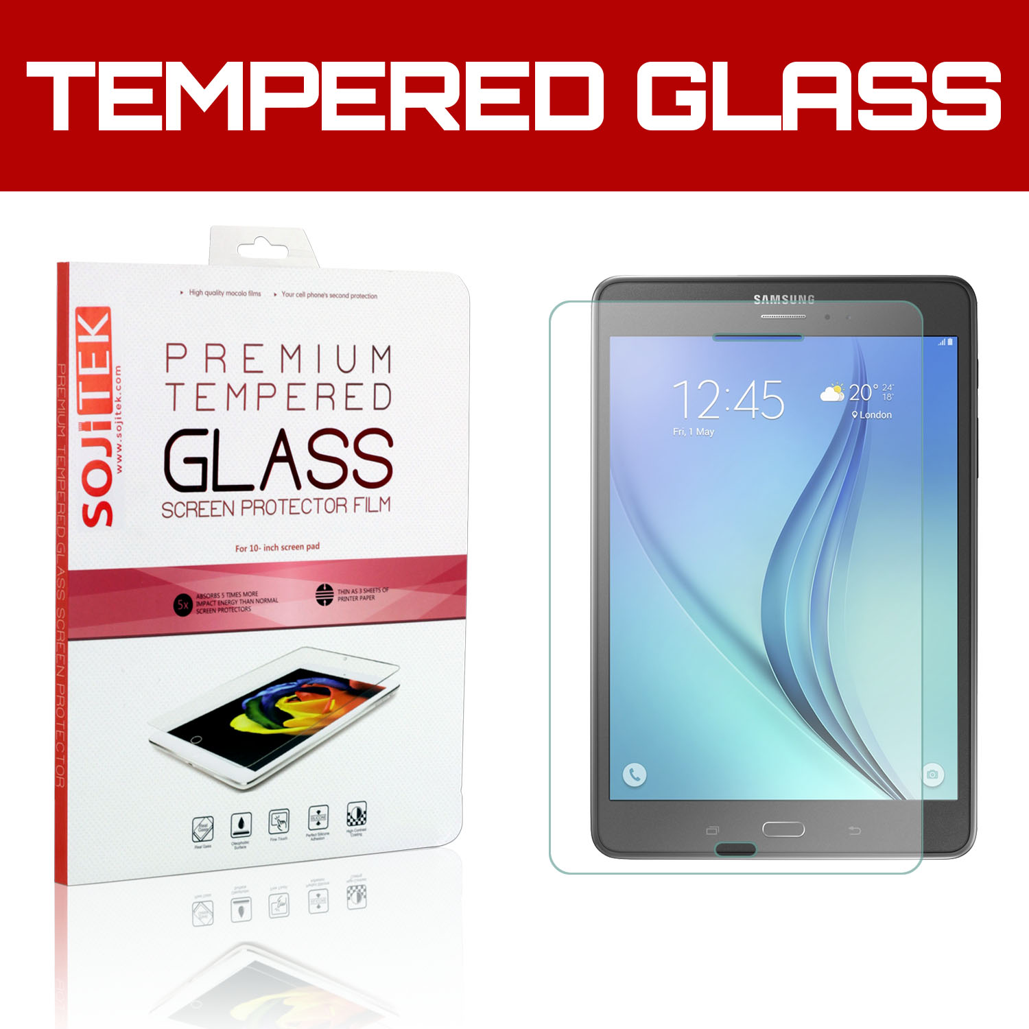 GolemGuard Samsung Galaxy Tab A 8.0 Premium Ballistic Tempered Glass Screen Protector with Lifetime Replacement Warranty - HD Ultra Clear Clarity & Touchscreen Accuracy Smart Film 0.33mm thinness
