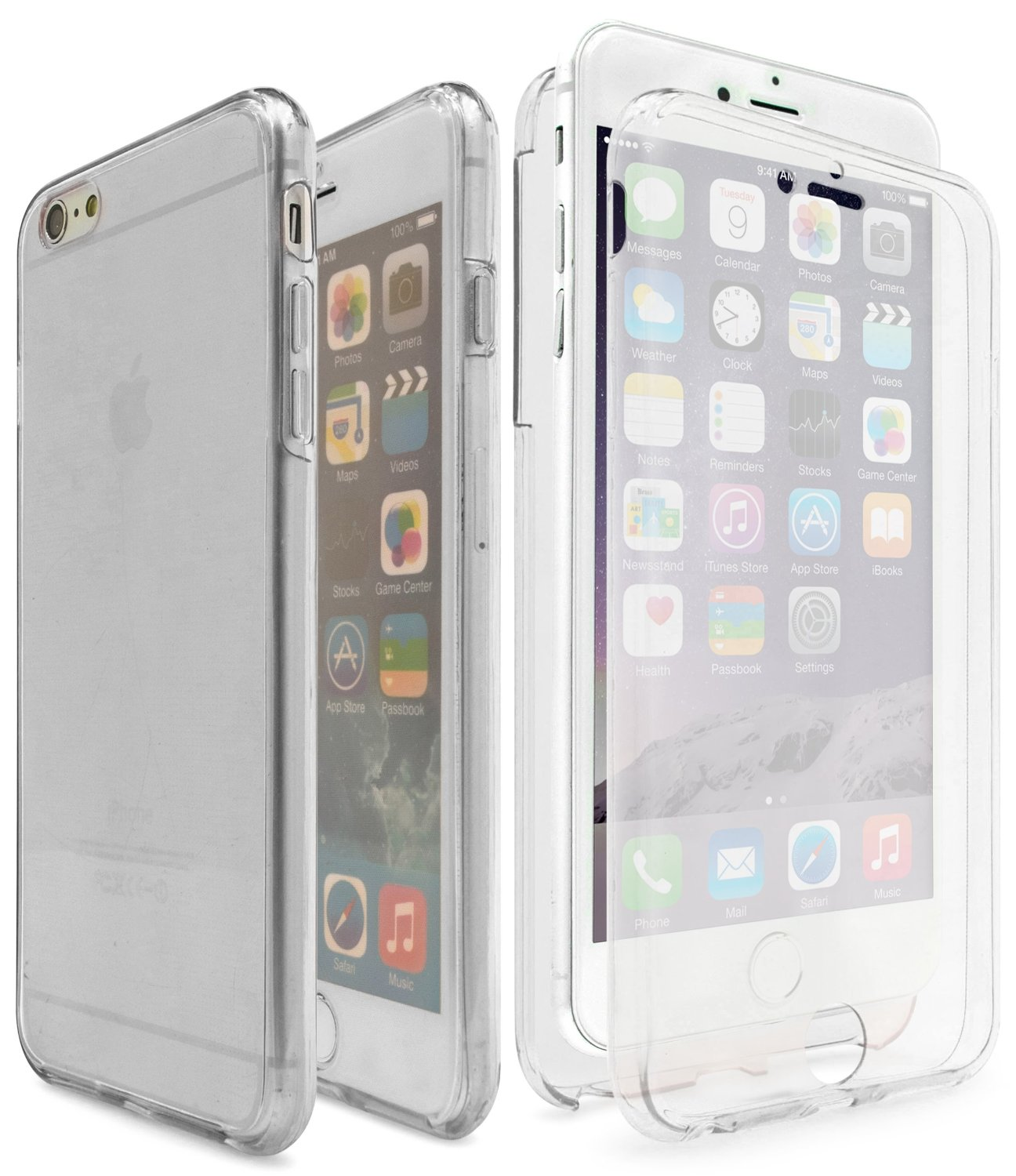 iPhone 7 Clear TPU Front Back Case, TortugaArmor Full Coverage 360 degree Front and Back Protective Case Shockproof TPU Gel Transparent - Clear