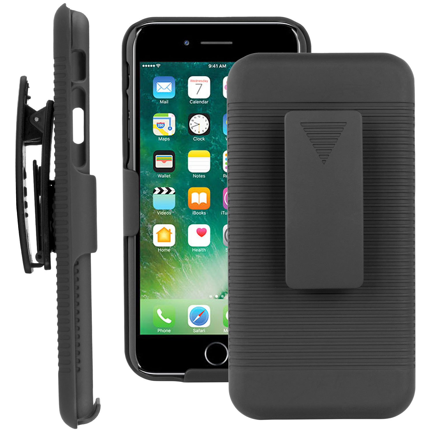 SOJITEK iPhone 7 Black Hoslter Case 2 in 1 Hybrid Hard Shell Holster Combo With Kickstand & Belt Clip