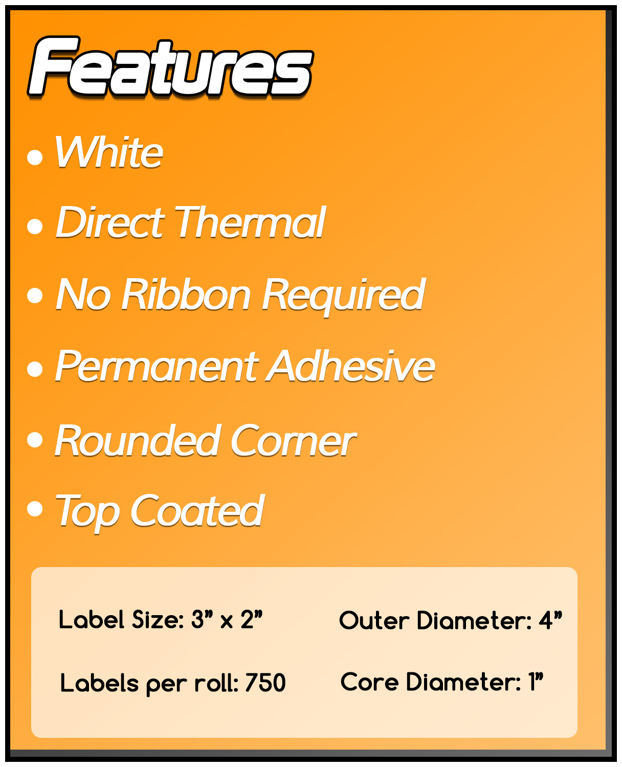 1 Inch Core - 3 x 2 Zebra Compatible Direct Thermal Labels 1 Roll