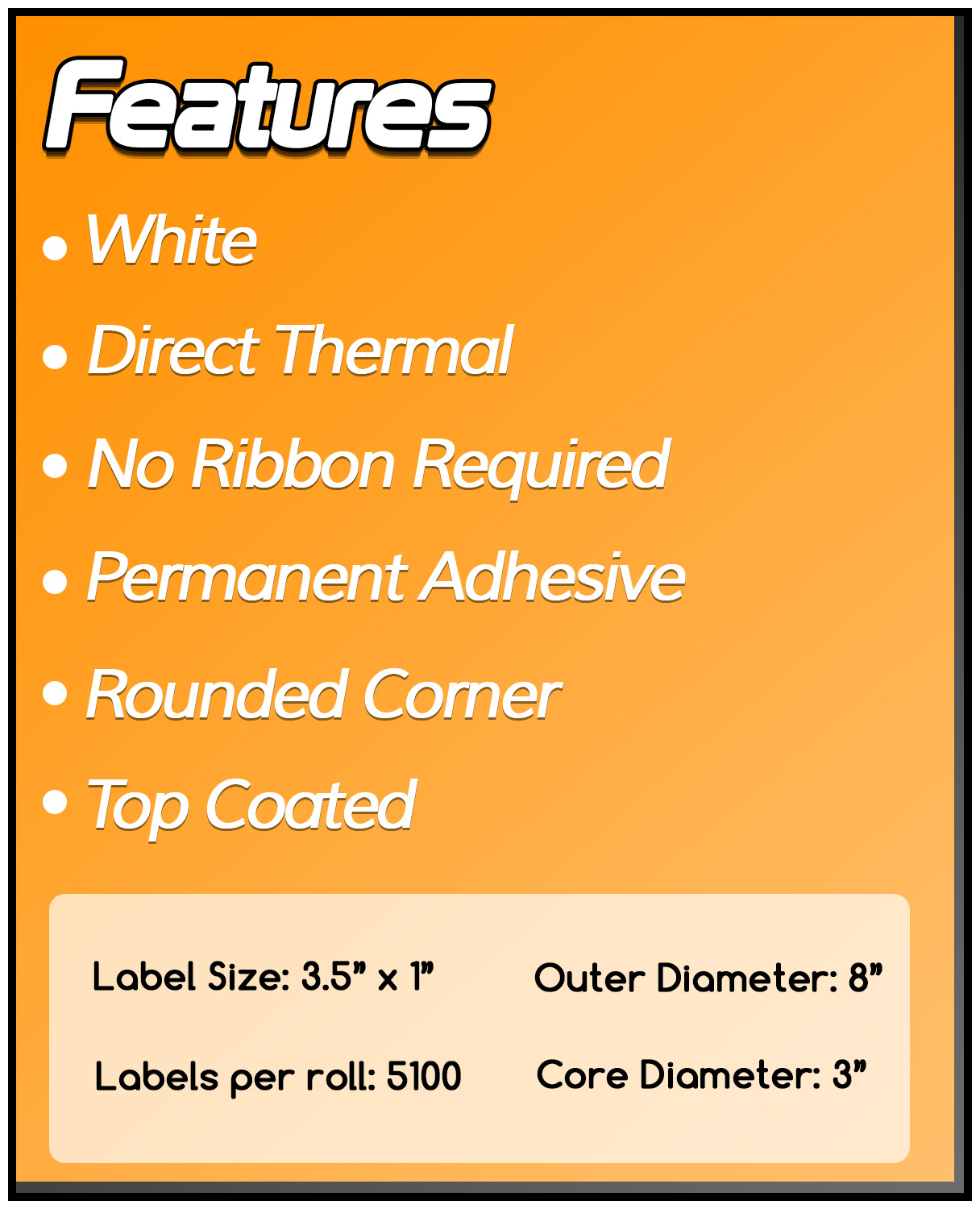 3 Inch Core - 3.5 x 1 Zebra Compatible Direct Thermal Labels 1 Roll