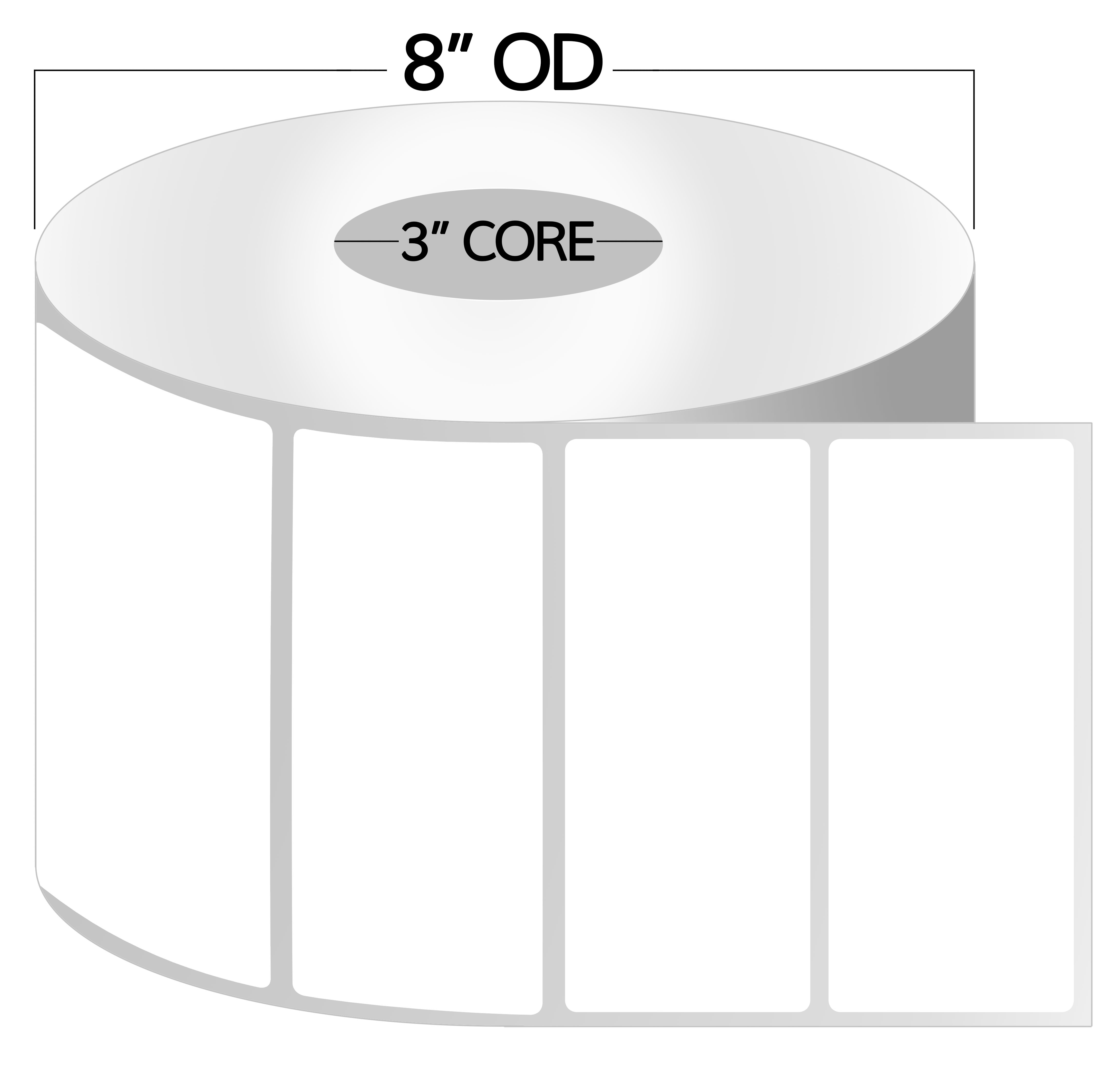 3 Inch Core - 4 x 1 Zebra Compatible Direct Thermal Labels 1 Roll