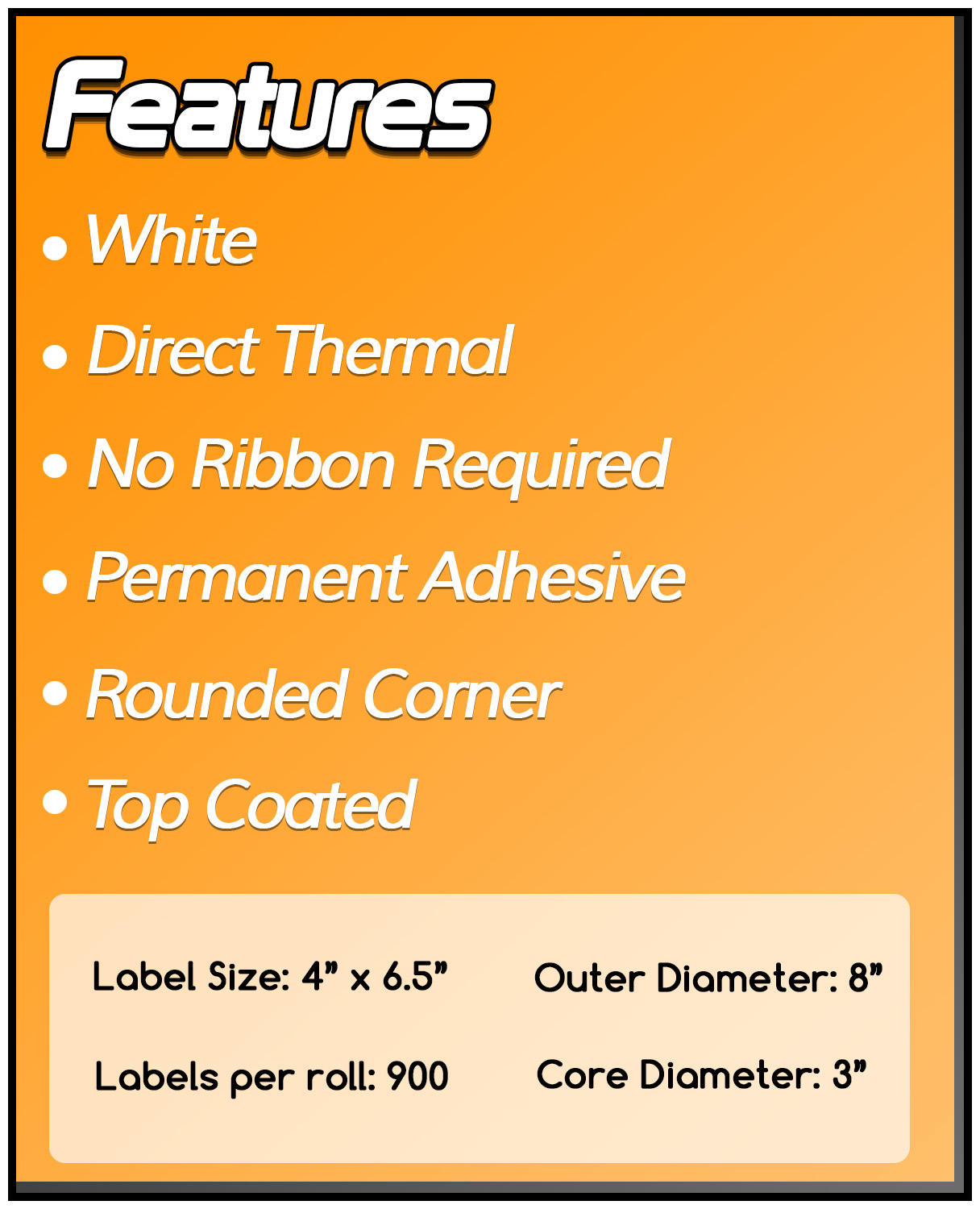 3 Inch Core - 4 x 6.5 Zebra Compatible Direct Thermal Labels 1 Roll