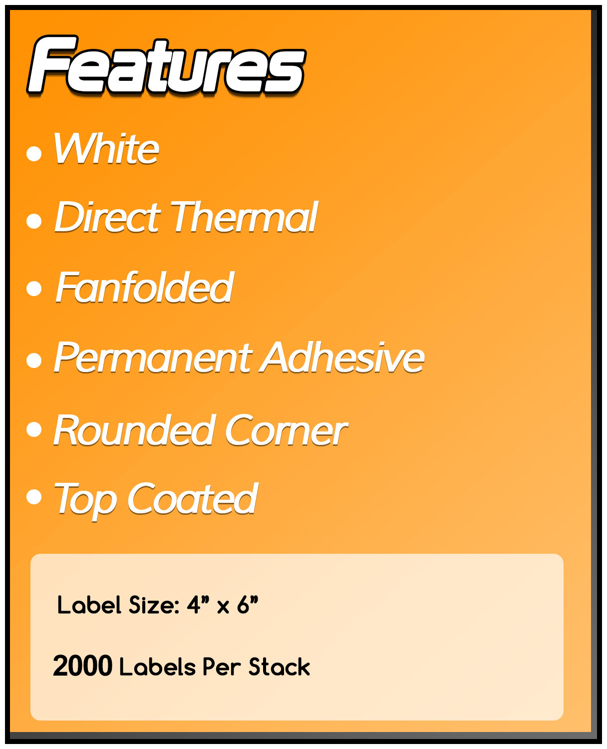 4 x 6 Fanfold Zebra Compatible Direct Thermal Labels (1 Carton)