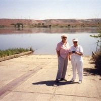 Two women on White Bluffs boat launch<br />