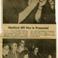 Hanford Bill Pen Is Presented, Catherine May is Honored at Banquet<br />