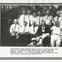 A group of White Bluffs male residents at a picnic<br />