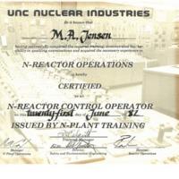N Reactor Certificate