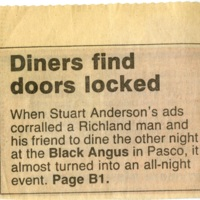 Diners Find Doors Locked article