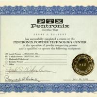 Pentronix Powder Technology Center Certificate<br />