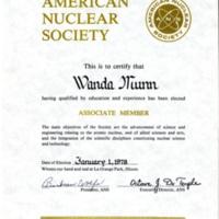 Associate Member, American Nuclear Society