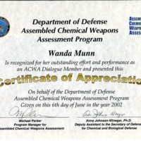 "Assembled Chemical Weapons Assessment Program ""Cerfiticate of Appreciation"""